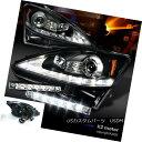 ヘッドライト 06-09 IS250 IS350 Black LED DRL Strip Projector Headlight Pair 6-LED Fog DRL 06-09 IS250 IS350ブラックLED DRLストリッププロジェクターヘッドライトペア 6-LEDフォグDRL