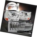 ヘッドライト 99-02 Silverado Pickup Truck Chrome Projector Headlights Vertical Hood Grille 99-02 Silveradoピックアップトラッククロームプロジェクターヘッドライト Ver tical Hood Grille