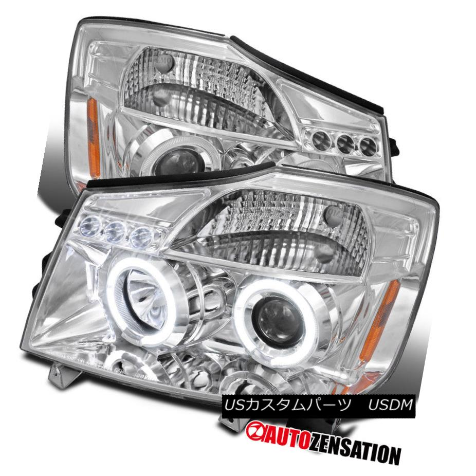 For 05-07 Armada Black Halo LED Projector Headlights+Rear Tail Lamps