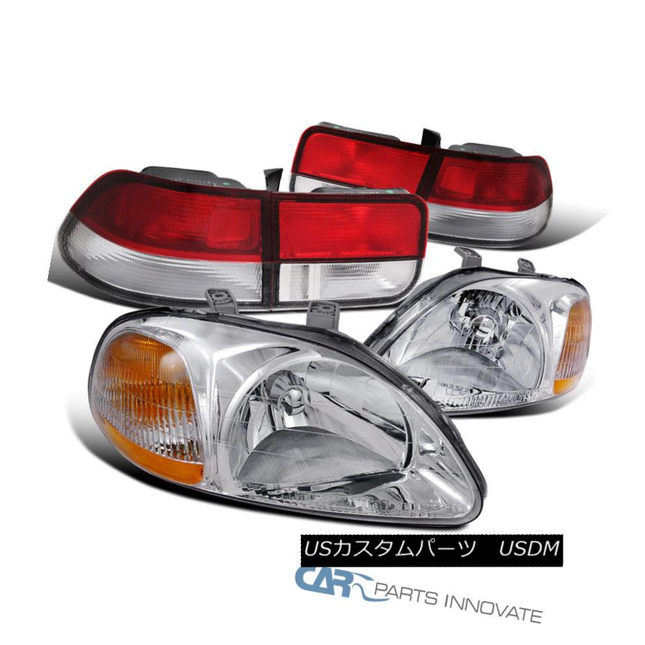 For 2006-2011 Honda Civic Coupe 2dr Headlights Black w// Clear Reflector