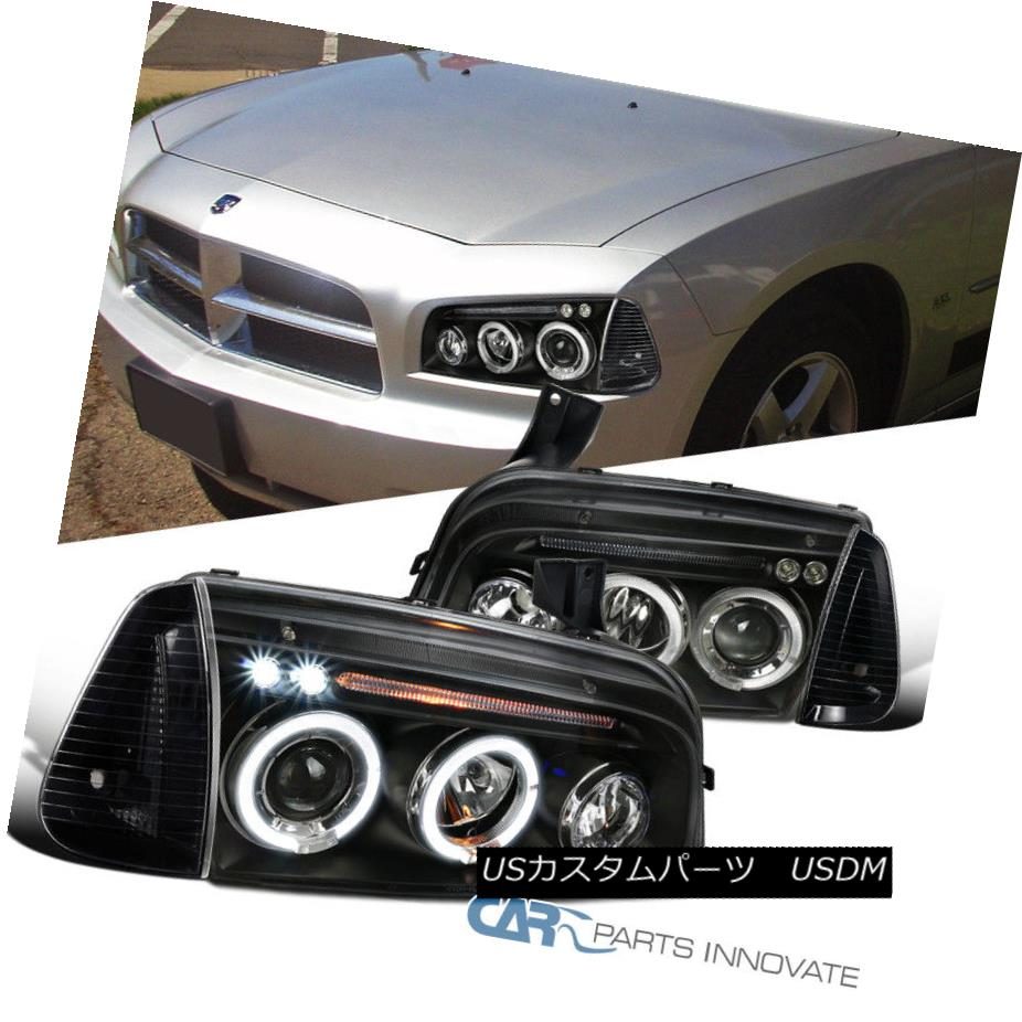 06-10 Dodge Charger Chrome Halo Projector Headlights+Corner Signal Lamp