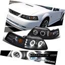 ヘッドライト 1999-2004 Ford Mustang Black Dual Halo Projector Headlights Lamps Left+Right 1999-2004フォードマスタングブラックデュアルヘイロープロジェクターヘッドライトランプ左右+