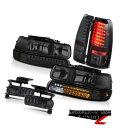 ヘッドライト 99-02 GMT800 Silverado Smoke LED Bumper Headlamps Brake Tail Li...