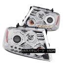 ヘッドライト ANZO 111029 Set of 2 Chrome Halo Projector Headlights for 04-08 Ford F-150 ANZO 111029 04-08 Ford F-150用クロームハロープロジェクターヘッドライトセット