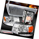テールライト 04-08 F150 Chrome Projector Headlights Vertical Grille LED Tail 3rd Brake Lamps 04-08 F150クロームプロジェクターヘッドライト Ver tical Grille LEDテール第3ブレーキランプ