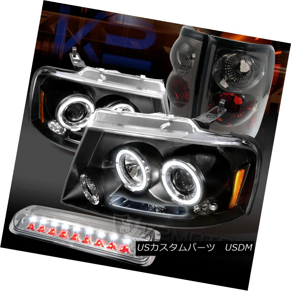 Fit 04-08 Ford F150 Clear LED Halo Projector Headlights+Smoke Tail Brake Lights
