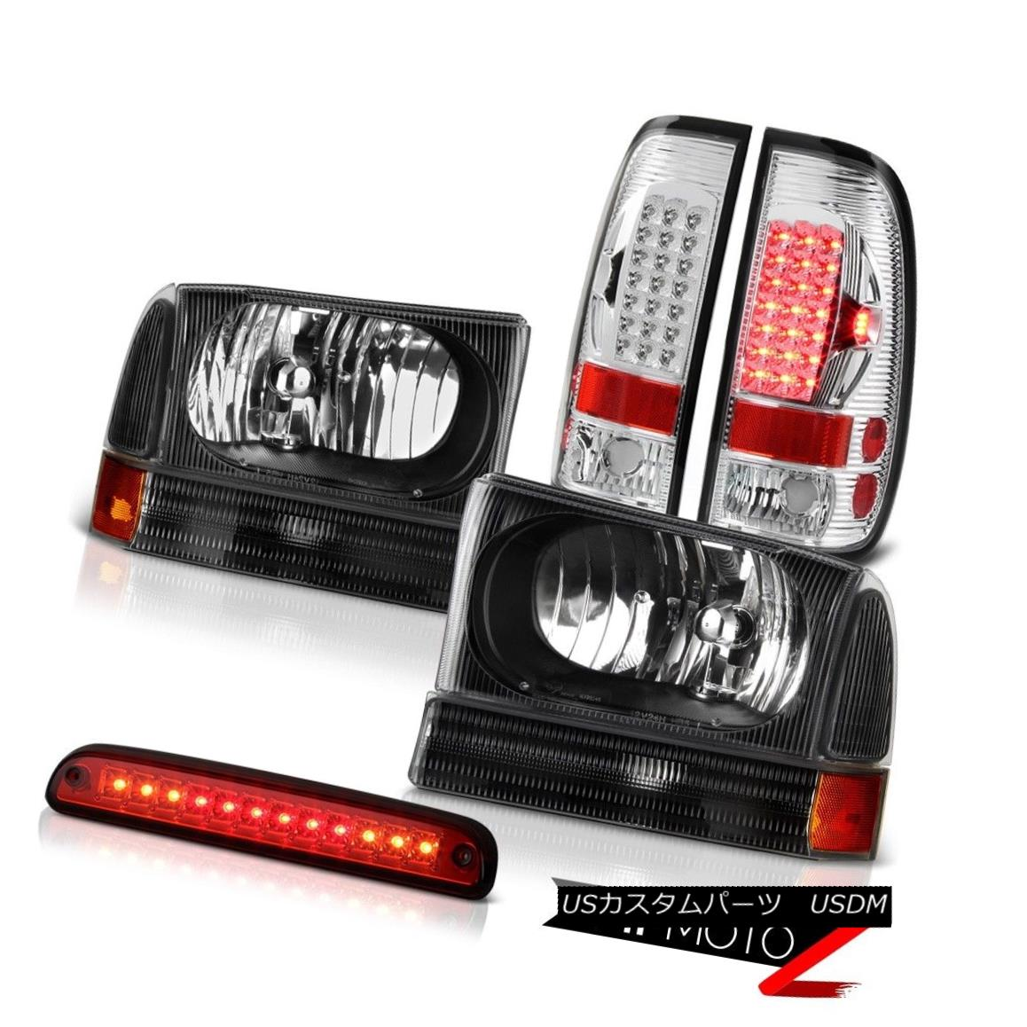 Ford 99-04 Mustang Black LED Halo Projector Headlights+Smoke Tail Brake Lamps