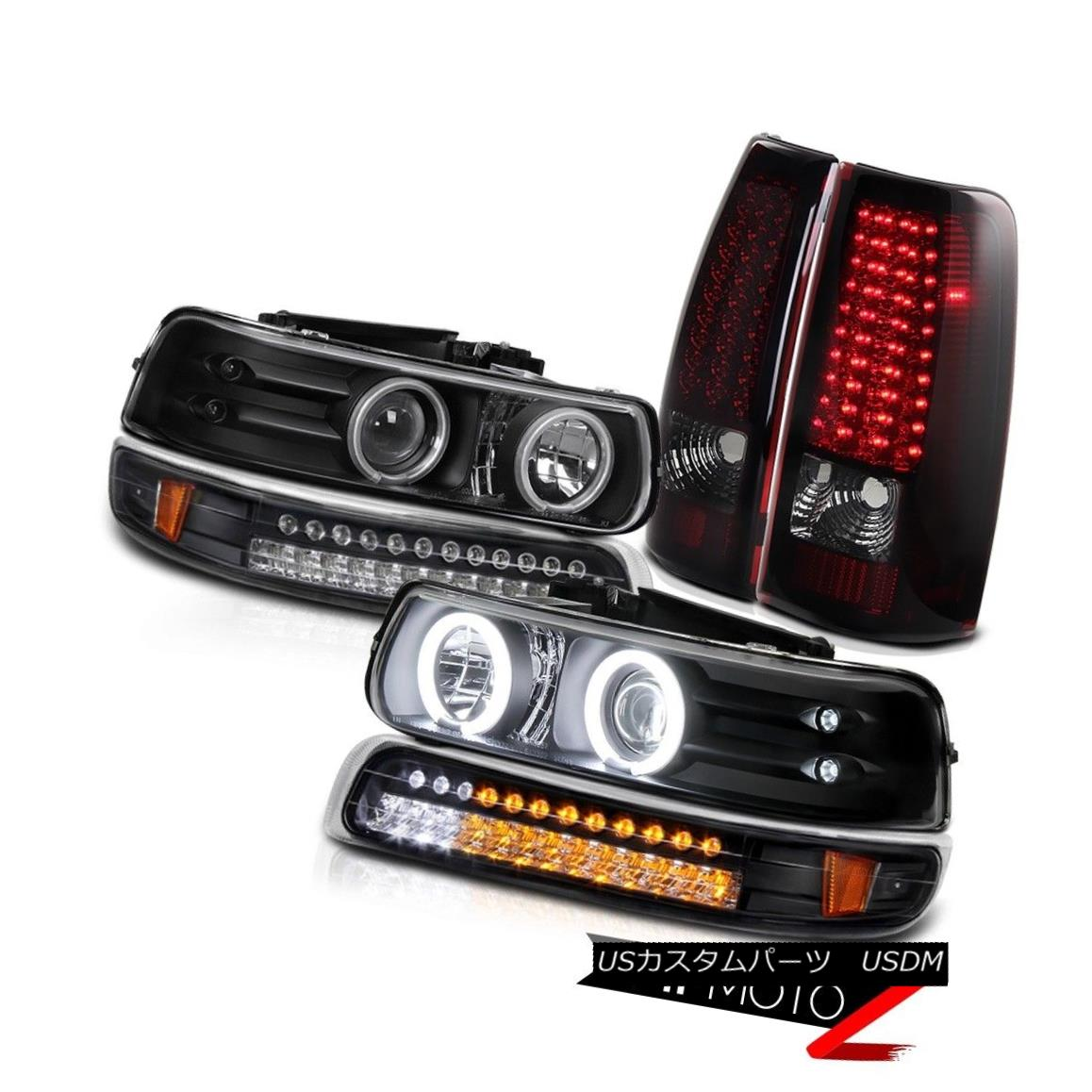 BLACK AMBER BUMPER HEADLIGHT+CLEAR LENS LED BAR TAIL LIGHT FOR 99-02 SILVERADO