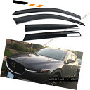 エアロパーツ FOR 17-18 MAZDA CX5 CX-5 SMOKE TINTED CLIP-ON WINDOW VISOR RAIN GUARD DEFLECTORS FOR 17-18 MAZDA CX5 CX-5ウインチ ビジターレインガード デフレクター