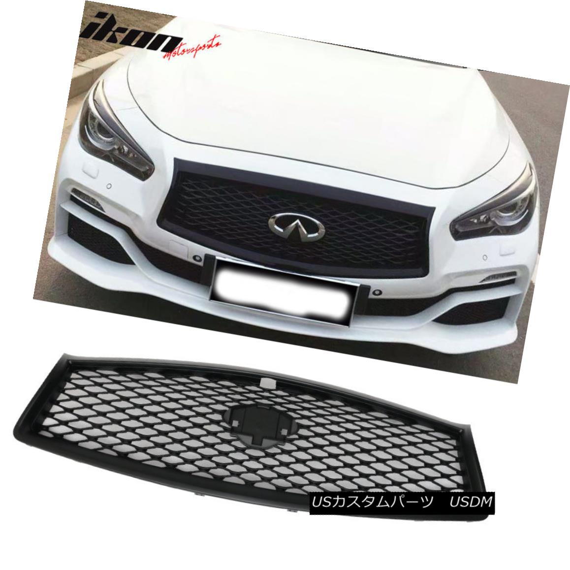 Fits 14-17 Infiniti Q50 Sedan Rouge Style Front Bumper Grille Grill Gloss Black