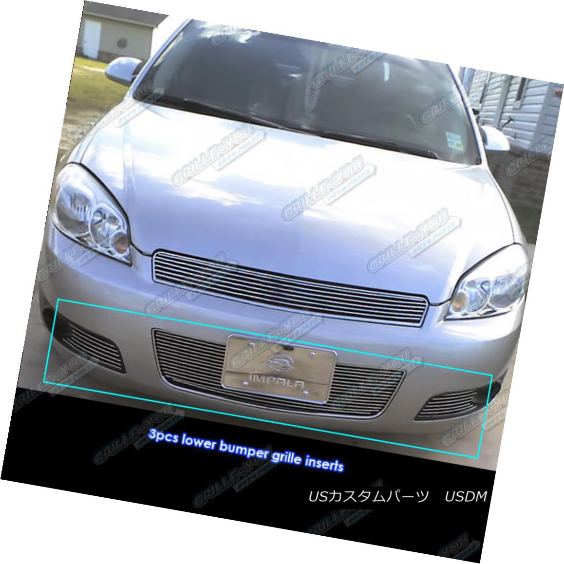 For  2006-2013 Chevy Impala Bumper With Fog light Show Black Billet Grille