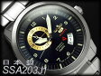 【日本製 逆輸入 SEIKO5】セイコー5 スポーツ メンズ 自動巻き式腕時計 ネイビー×ゴールドダイアル シルバーステンレスベルト SSA203J1