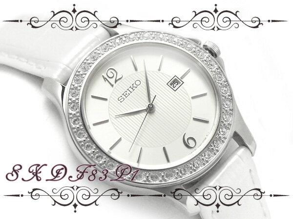 【逆輸入SEIKO】セイコー レディース腕時計 ストーンベゼル ホワイト×シルバーダイアル ホワイトレザーベルト SXDF83P1 逆輸入SEIKO セイコー 女性用腕時計 sxdf83p1