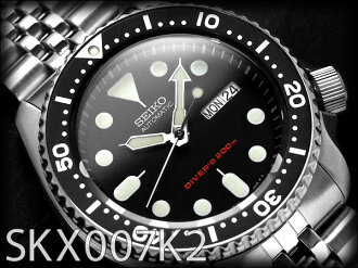 Seiko メンズダイバーズ automatic self-winding watch BLACK BOY black boy black dial black bezel シルバーステンレス metal belt SKX007K2