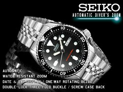 【逆輸入SEIKOAUTOMATIC】セイコーメンズダイバーズ自動巻き腕時計ブラックダイアルブラックベゼルシルバーステンレスメタルベルトSKX007K2