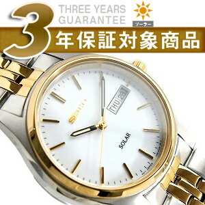 Seiko men's watches solar day date White Dial stainless steel belt ゴールドコンビ SNE032P1