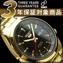 【日本製逆輸入SEIKO 5】セイコー5 メンズ自動巻き腕時計 ブラックダイアル ゴールドステンレスベルト SNK576J1