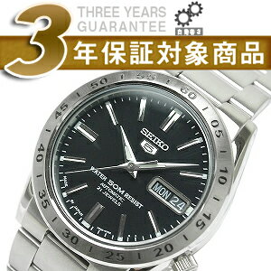 Seiko 5 mens automatic watch-black dial-silver stainless steel belt SNKE01J1