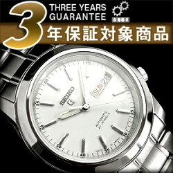 【日本製逆輸入SEIKO5SPORTS】セイコー5メンズ自動巻き腕時計ホワイトダイアルシルバーステンレスベルトSNKE49J1