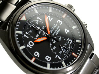 Seiko men's Chronograph Watch Black Dial black IP black stainless steel belt SNN237P1