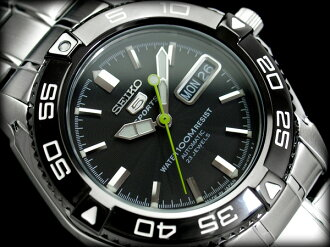 Seiko 5 men's automatic self-winding watch IP black bezel ギョーシエ black dial silver stainless steel belt SNZB23J1