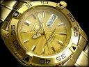 【日本製逆輸入SEIKO5SPORTS】セイコー5 メンズ自動巻き腕時計 オールゴールド ギョーシエゴールドダイアル ゴールドステンレスベルト SNZB26J1