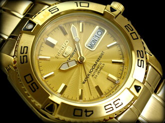 Seiko 5 men's automatic self-winding Watch Gold Dial-ギョーシエゴールド gold stainless steel belt SNZB26J1