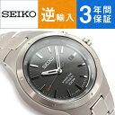 【逆輸入 SEIKO】セイコー クロノグラフ キネティック メンズ 腕時計 ダークグレーダイアル チタニウムベルト SKA713P1
