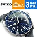 【逆輸入 SEIKO】セイコー クロノグラフ キネティック メンズ 腕時計 ブルーダイアル ダークネイビーレザーベルト SKA745P2【AYC】
