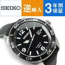 【逆輸入 SEIKO】セイコー クロノグラフ キネティック メンズ 腕時計 ブラックダイアル ブラックレザーベルト SKA747P2【AYC】