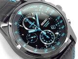 【正規品 逆輸入 SEIKO】セイコー クォーツ 高速クロノグラフ メンズ 腕時計 ブラック×ブルーダイアル ブラックレザーベルト SNDD71P1【あす楽】