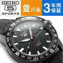 【逆輸入 SEIKO5 SPORTS】セイコー5スポーツ Limited Edition 手巻き付き機械式 メンズ腕時計 ブラック レザーベルト SRP719K...