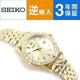 【逆輸入 SEIKO】セイコー クォーツ レディース腕時計 オールゴールド ステンレスベルト SUR728P1【AYC】