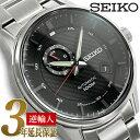 【日本製 逆輸入 SEIKO】セイコー 自動巻き 手巻き付き機械式 メンズ 腕時計 ブラックダイアル ステンレスベルト SSA381J1【あす楽】