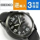 【逆輸入 SEIKO】セイコー ソーラー メンズ 腕時計 ブラックダイアル ブラックレザーベルト SNE477P1