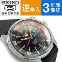【逆輸入 SEIKO5】セイコー5 スポーツ メンズ 自動巻き式腕時計 ブラック×オレンジダイアル ウレタンベルト SRPB31K1【AYC】