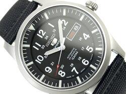 【先行販日本製逆輸入SEIKO5SPORTS】セイコー5メンズ自動巻き腕時計マットシルバーケースブラックダイアルメッシュベルトSNZG15J1