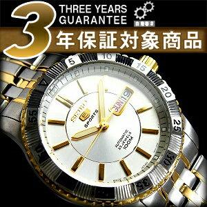 Seiko 5 sports mens automatic watch サイドゴールドベゼル Silver Dial stainless steel ゴールドコンビ belt SNZJ30J1
