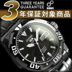 Seiko 5 sports mens automatic diver's watch-all black black IP black stainless steel belt SNZJ41J1