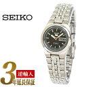 【日本製逆輸入SEIKO5】セイコー5 レディース自動巻き腕時計 ブラックダイアル ステンレスベルト SYMG55J1