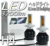 【ポイント10倍】LEDヘッドライト フォグランプ 兼用 H4 Hi/Low 切り替え 色温度変更 ホワイト イエロー 3200lm 12V 24V 対応 CREE製チップ搭載 ヒートシンク 冷却ファン 一体型 高輝度 省電力 長寿命 ヘッドランプ 3200ルーメン 瞬間起動 瞬間点灯 送料無料 LEDKITH4