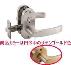 マツ六MJ24レバー表示錠トイレ錠サテンゴールドバックセット:50mm扉厚:29〜45mm[ドアレバ