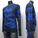 HYDROGEN メンズ ロングTシャツ[36031] ブルー迷彩系 190014 A53 BLUETTE CAMOUFLAGE
