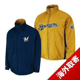 -1 MLB Milwaukee Brewers Authentic Triple Climate 3-In On-Field jacket (gold / navy) Majestic