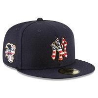 ご予約 MLB ヤンキース 選手着用 59FIFTY キャップ/帽子 2018 スターズ & ストライプス ニューエラ/New Era ネイビー - US国旗、星条旗モチーフのMLB独立記念キャップ!