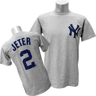 Majestic MLB Yankees # 2 Derek Jeter Player T shirt (gray)