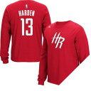 お取り寄せ NBA ロケッツ ジェイムス・ハーデン Tシャツ レッド アディダス Name & Number Long Sleeve Tシャツ