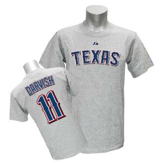 Majestic MLB Rangers # 11 Yu Darvish of Player T shirt JPN Ver (gray)