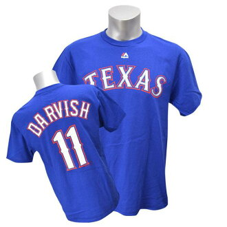 MLB Rangers #11 Yu Darvish Player T-shirt (blue) Majestic