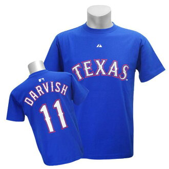 Majestic MLB Rangers # 11 Yu Darvish of Player T shirt JPN Ver (blue)